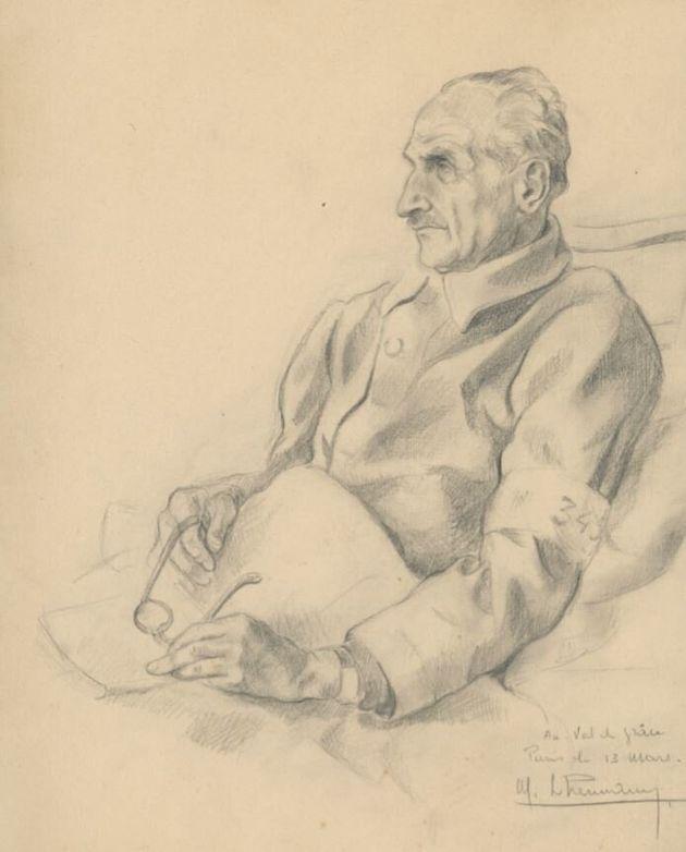 Un dessin de Léonce Schwartz, le grand-père paternel d'Anne Sinclair, réalisé au Val-de-Grâce par un...