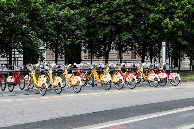 Electric bikes in Milan during lockdown. The bikes are part of the city's new sustainable mobility plan,...