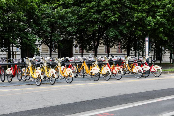 Electric bikes in Milan during lockdown. The bikes are part of the city's new sustainable mobility plan, which also foresees