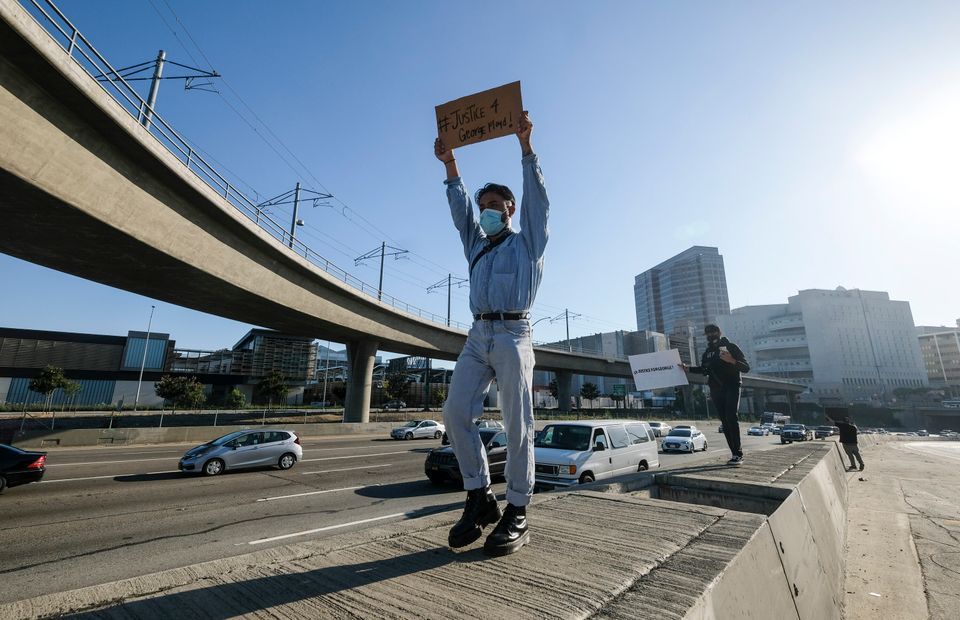 Demonstrators shut down the Hollywood Freeway in Los Angeles on Wednesday, May