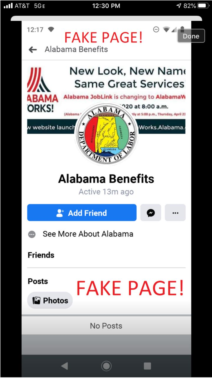 This scam social media page purported to originate with the Alabama Department of Labor.