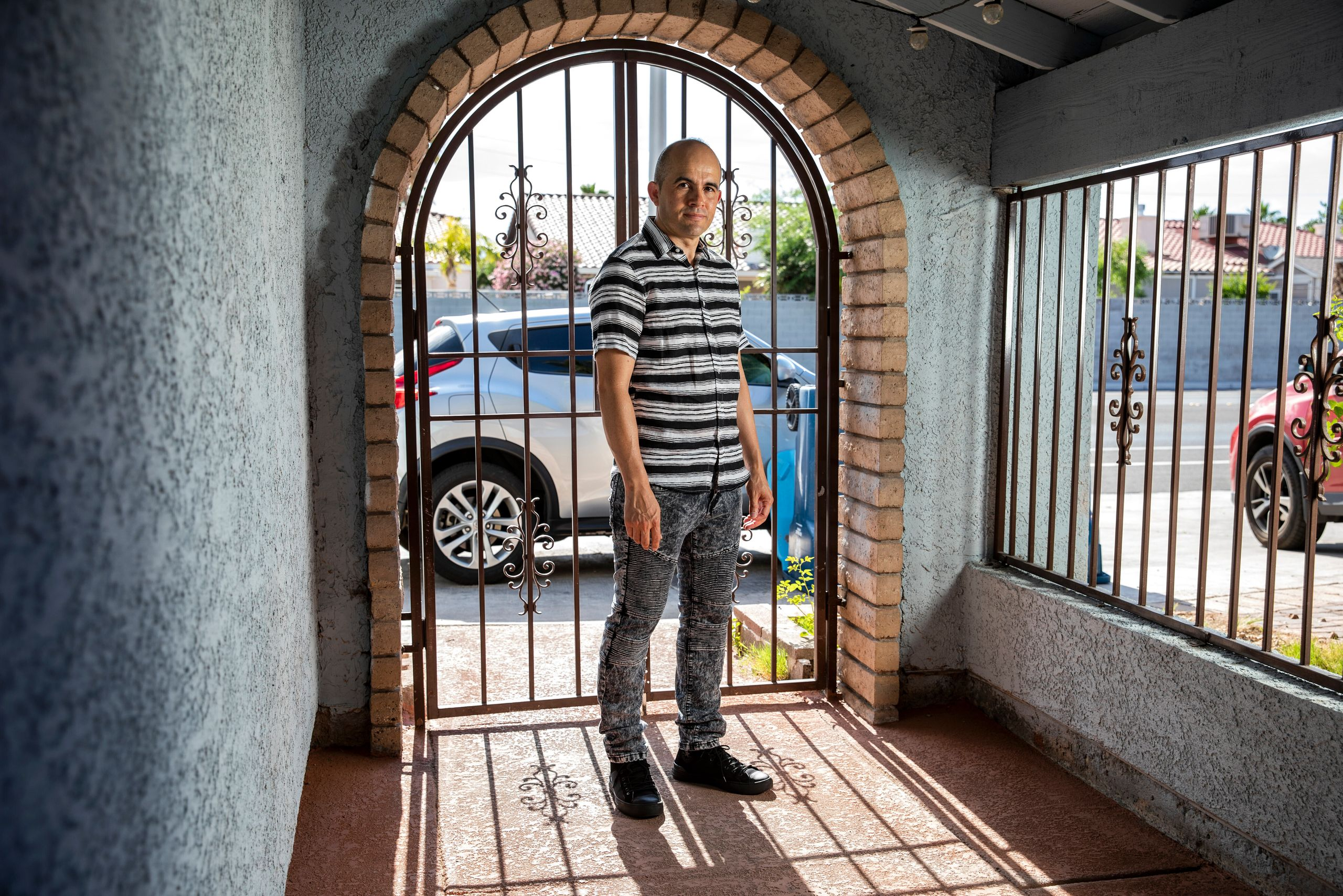 Nery Martinez, a bartender at Caesars Palace, at his home in Las Vegas last week. The company that owns it is setto ope