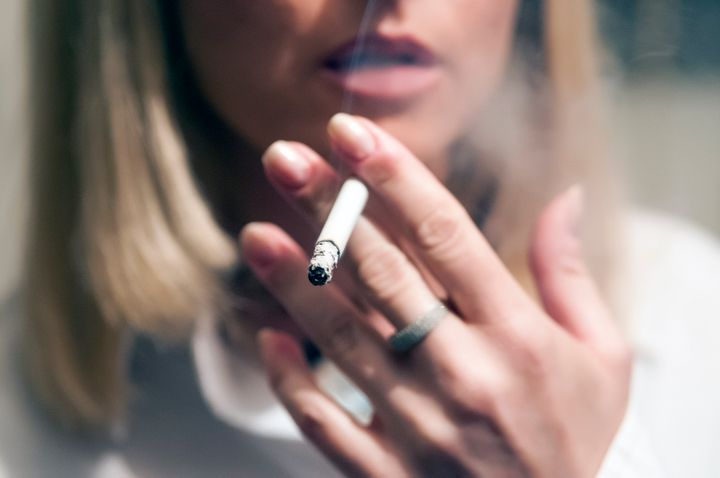 Midsection Of Woman Smoking Cigarette