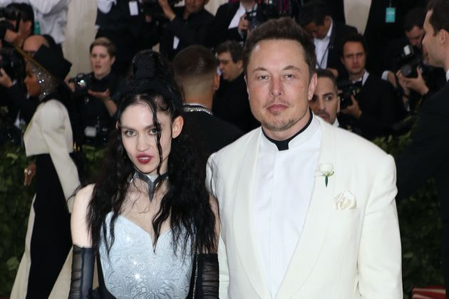 Grimes and Elon Musk attend the 2018 Costume Institute Benefit at Metropolitan Museum of Art on May 7,...