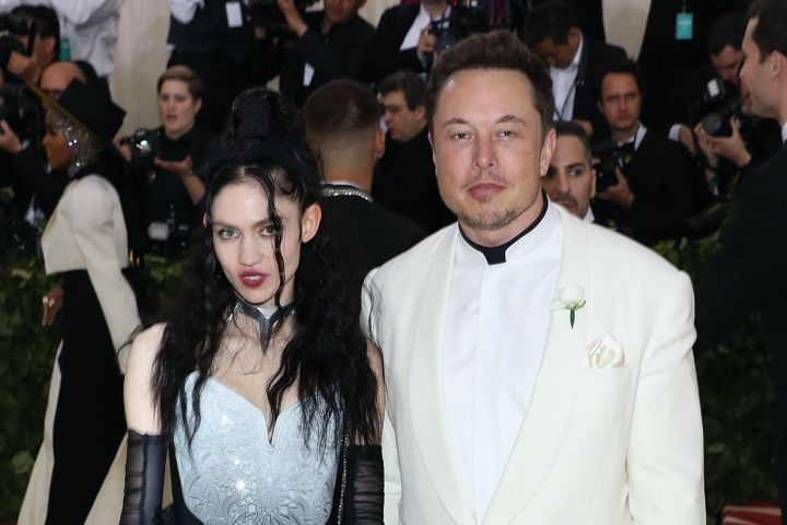Grimes and Elon Musk attend the 2018 Costume Institute Benefit at Metropolitan Museum of Art on May 7, 2018, in New York City