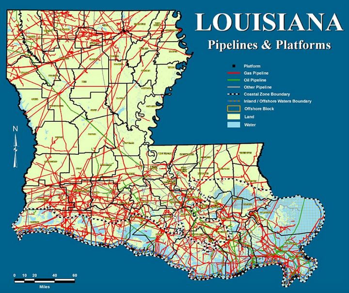 Louisiana's 125,000-mile network of pipelines, seen here in an exhibit from a lawsuit challenging the 2018 statute.
