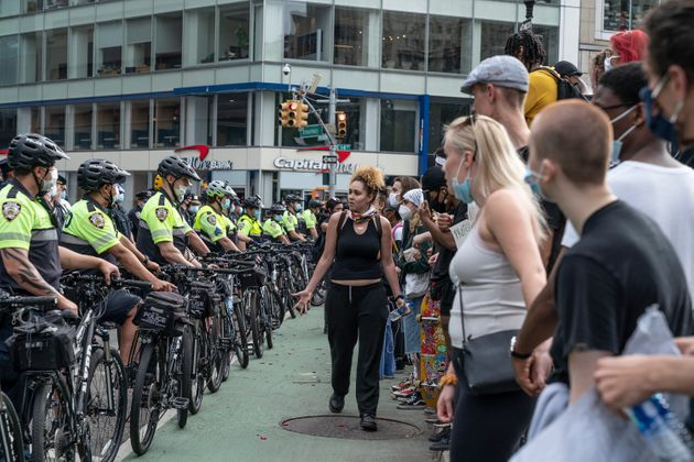 Police at a demonstration Thursday in New York City wore typical uniforms and bike