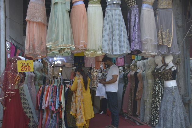 GHAZIABAD, INDIA - MAY 26: Shops open for business at Turab Nagar Market, during lockdown, on May 26,...