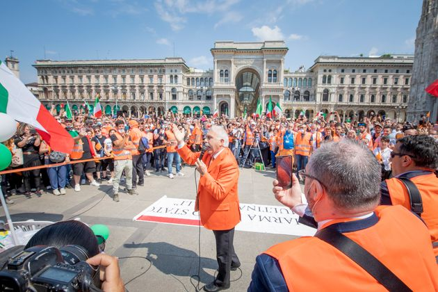 MILAN, ITALY - MAY 30: Antonio Pappalardo the Leader of the Orange Vest movement speaks at Piazza Duomo...