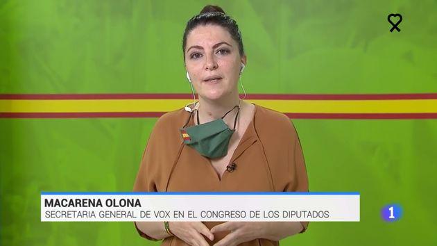 Macarena Olona (Vox) en el 'Telediario' de