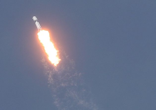 CAPE CANAVERAL, FLORIDA - MAY 30: The SpaceX Falcon 9 rocket with the manned Crew Dragon spacecraft attached...