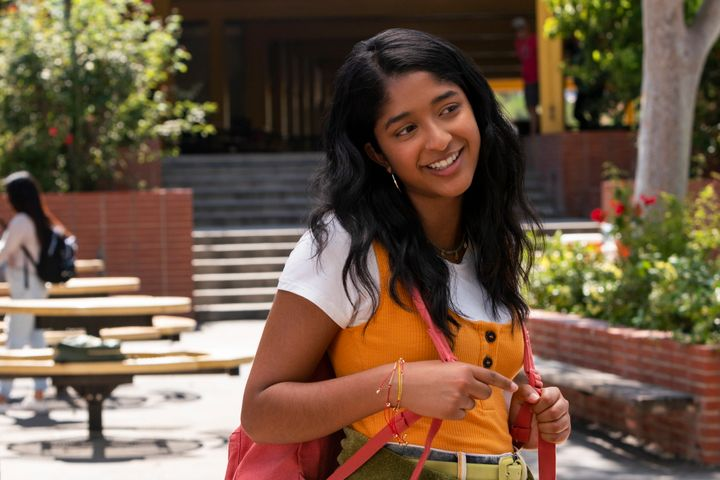 "This handout photo provided by Netflix shows Maitreyi Ramakrishnan as Devi Vishwakumar in a scene from ""Never Have I Ever."" The series follows a first-generation Indian American teen navigating not only her culture and Hindu faith, but also raging hormones, commitment to excellence and explosive temper."