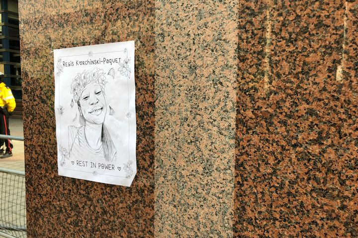 A portrait of Regis Korchinski-Paquet is posted on a wall outside Toronto Police headquarters on May 30, 2020.