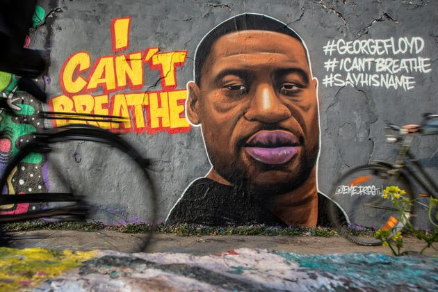 A mural of George Floyd painted by the artist eme_freethinker on a wall at Mauerpark in Berlin, Germany,...