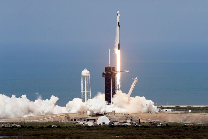 The SpaceX Falcon 9 was the first privately built and owned spacecraft to carry astronauts to the orbiting lab.