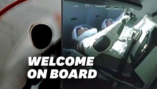 Les images de l'arrivée de Crew Dragon, la capsule de SpaceX, à