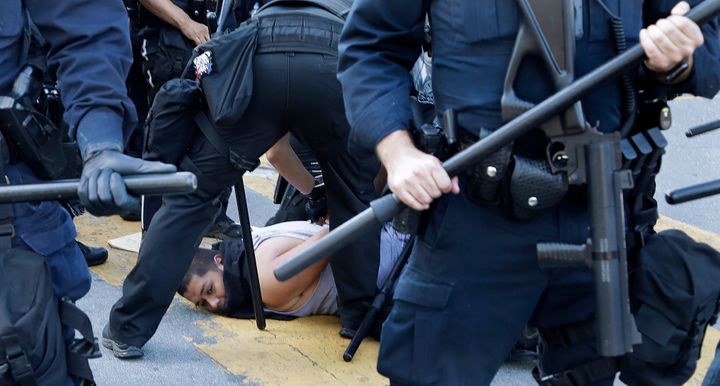 A protester is arrested on Friday in San Jose, California.
