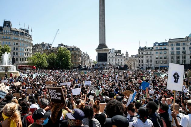 A Black Lives Matter march at Trafalgar Square in London on