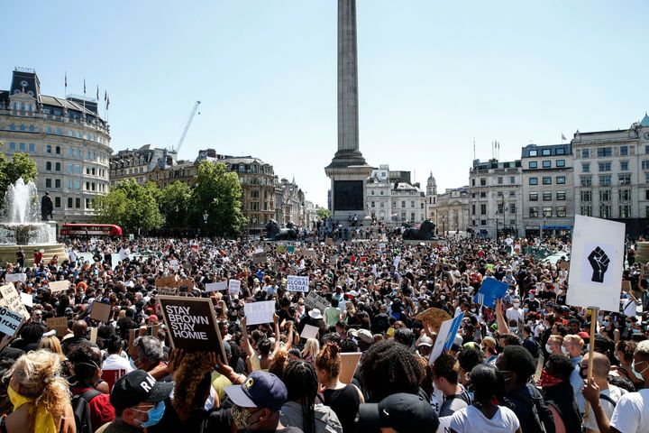 A Black Lives Matter march at Trafalgar Square in London on Sunday.
