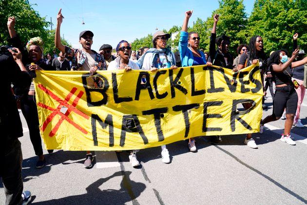 A Black Lives Matter demonstration in front of the U.S. Embassy in Copenhagen on