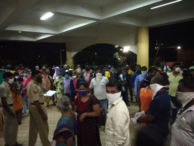 Travellers from Maharashtra waiting to be tested outside the North Goa District Hospital on Thursday...