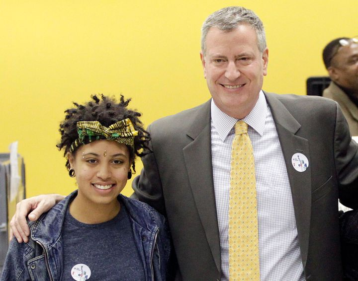 New York City Mayor Bill de Blasio with his daughter, Chiara in 2013. She was arrested on Saturday night during a demonstrati
