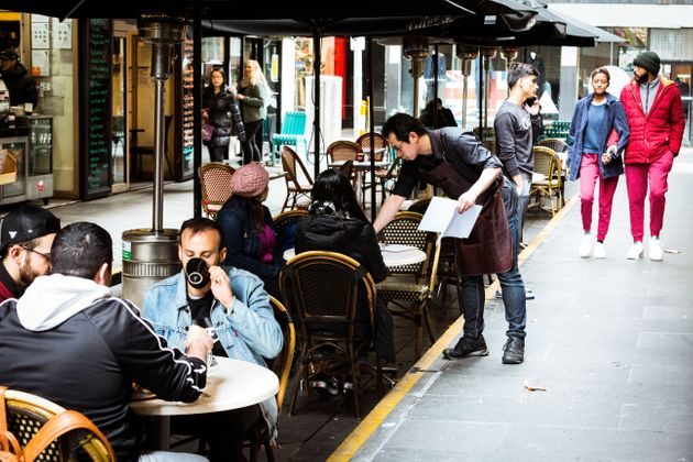Cafes in Melbourne's Degraves street open for dine in customers on June 01, 2020 in Melbourne,