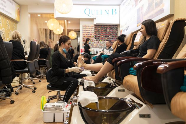 People enjoy the re-opening of beauty salons on June 01, 2020 in Melbourne,