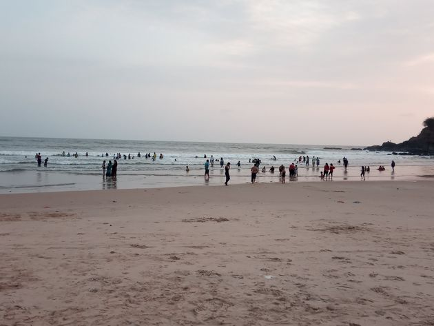 People at the Baga beach on Thursday 28