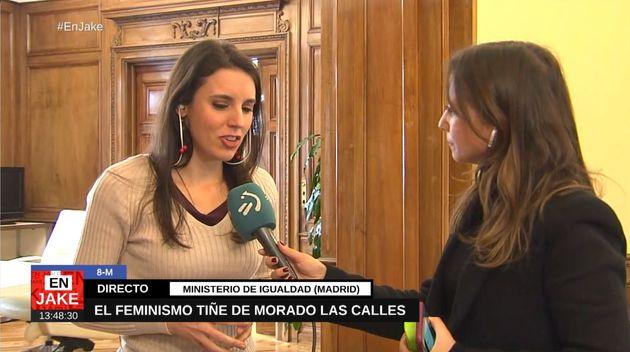 Un momento de la entrevista de Irene Montero en