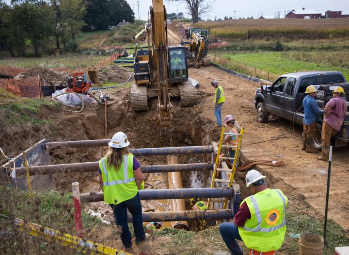 Contractors and welders work on the Pennsylvania section of the Williams Pipeline in 2017.