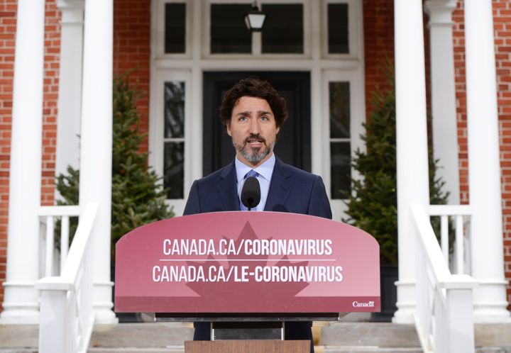 Seen on May 15, 2020, Prime Minister Justin Trudeau has held daily news conferences from Ottawa throughout the pandemic.