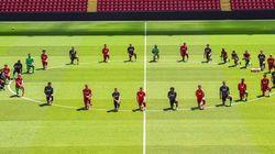 Toute l'équipe de Liverpool genou à terre pour George