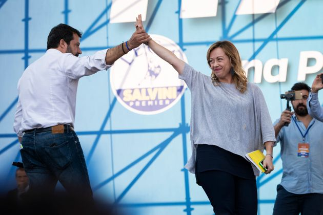 Matteo Salvini introduces onstage the leader of Fratelli d'Italia Giorgia Meloni during a rally organized...