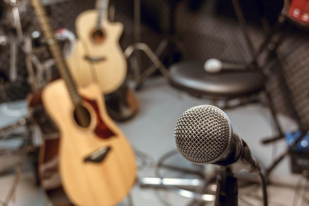 selective focus microphone and blur musical equipment guitar,bass,drum