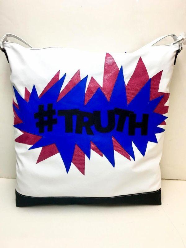 """Get the """"#Truth"""" oversize shoulder bag from SK WiLBUR for $680"""