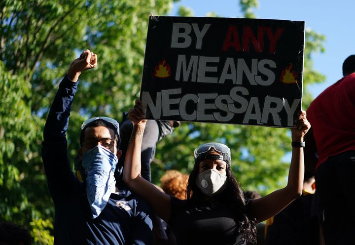 Demonstrators protesting the death of George Floyd near the White House on May 31, 2020, in Washington, D.C.