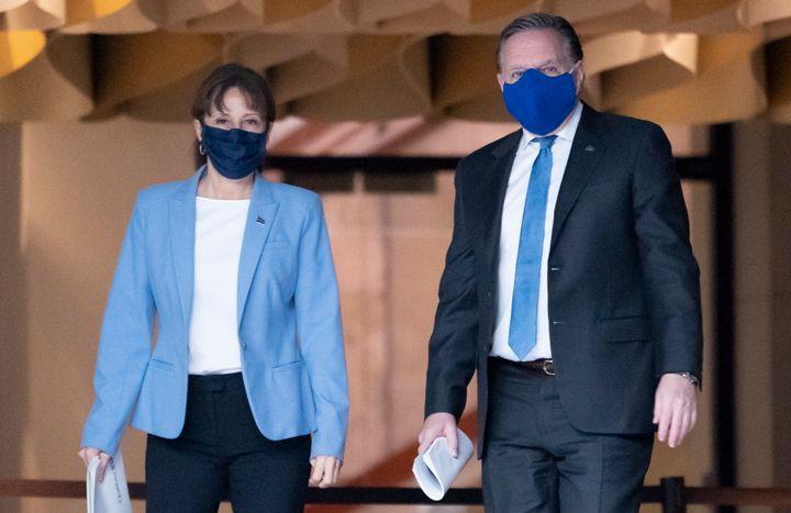 Nathalie Roy et François Legault avant la conférence de presse annonçant le plan pour l'industrie culturelle.