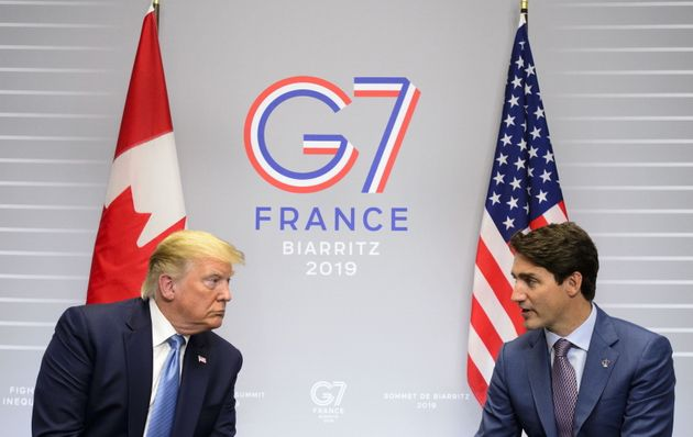 Prime Minister Justin Trudeau takes part in a bilateral meeting with U.S. President Donald Trump during...