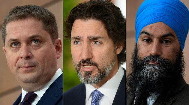 Conservative Leader Andrew Scheer, Prime Minister Justin Trudeau, and NDP Leader Jagmeet Singh are shown...
