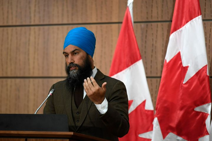 NDP Leader Jagmeet Singh speaks during a news conference in Ottawa on June 1, 2020.