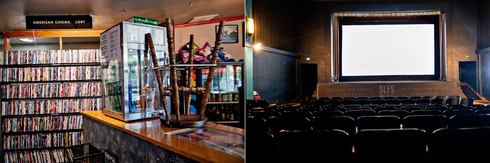 A closed concession stand, left, and an empty screening room at the Tower Theater in Salt Lake City,