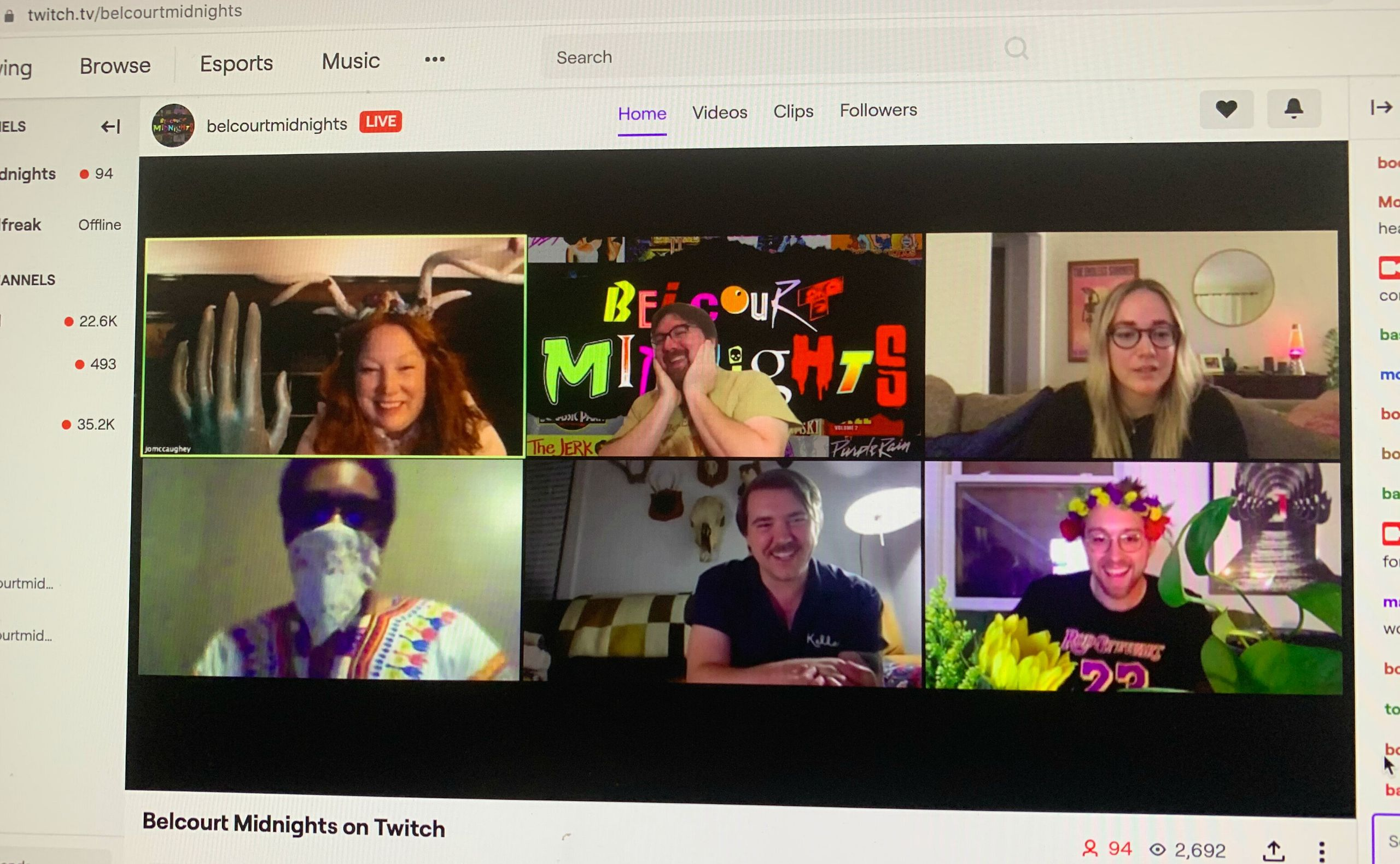 A screengrab of a Belcourt Midnights viewing on Twitch.