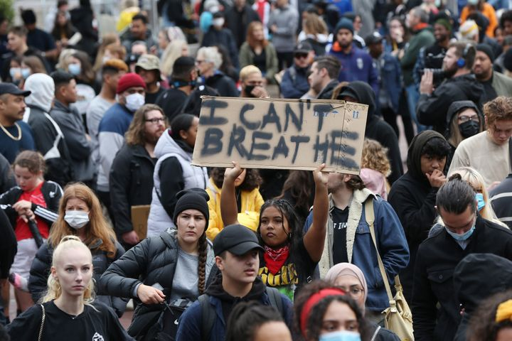Some 4,000 New Zealand protesters demonstrate against the killing of Minneapolis man George Floyd in a Black Lives Matter protest in Auckland on June 1, 2020. (Photo by MICHAEL BRADLEY / AFP) (Photo by MICHAEL BRADLEY/AFP via Getty Images)
