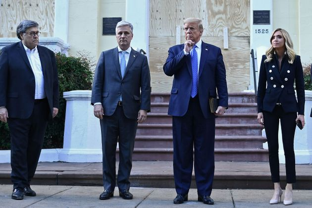 President Donald Trump posed for a photo with a Bible in front of a church damaged in the protests after...