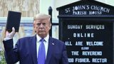 US President Donald Trump holds up a Bible outside of St John's Episcopal church across Lafayette Park in Washington, DC on June 1, 2020. - US President Donald Trump was due to make a televised address to the nation on Monday after days of anti-racism protests against police brutality that have erupted into violence. The White House announced that the president would make remarks imminently after he has been criticized for not publicly addressing in the crisis in recent days. (Photo by Brendan Smialowski / AFP) (Photo by BRENDAN SMIALOWSKI/AFP via Getty Images)