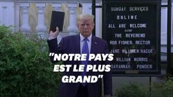 L'apparition de Trump et sa Bible devant une église passe