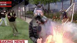 Pendant les manifestations aux États-Unis, une journaliste touchée par un feu d'artifice en plein