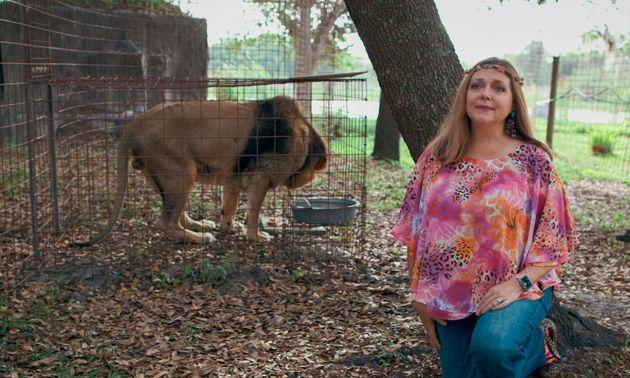 Carole Baskin (and a lion,