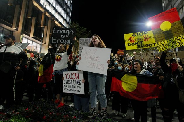 Protesters demonstrate in Martin Place during a 'Black Lives Matter' rally on June 02, 2020 in Sydney,